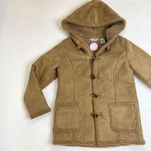 faux shearling ll bean coat brown hooded